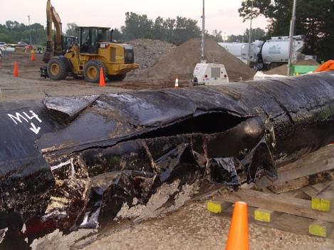 Ruptured Enbridge pipeline from Kalamazoo spill 2010 - credit NTSB